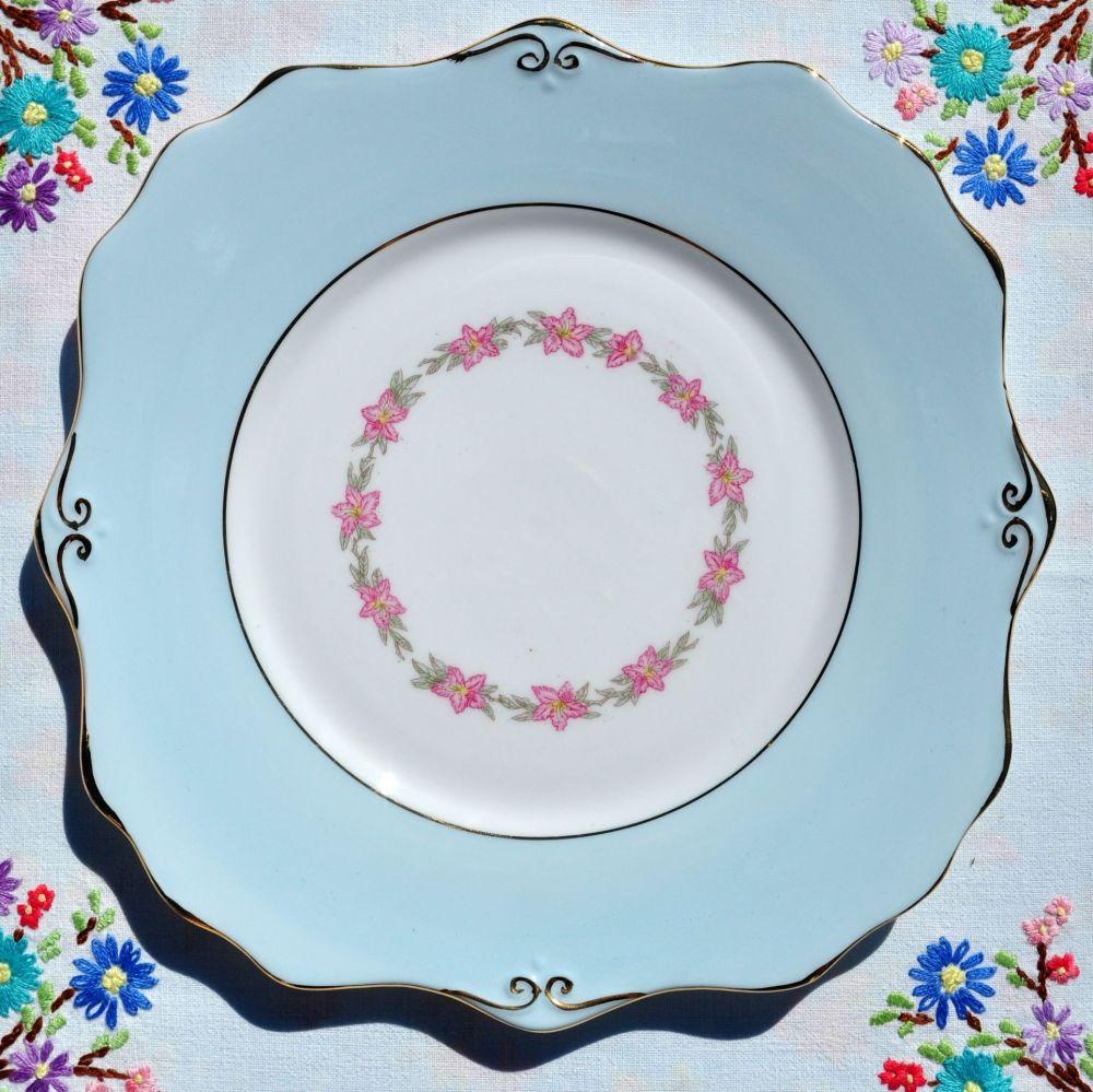 Gladstone Pale Blue Vintage China Cake Plate c.1950s