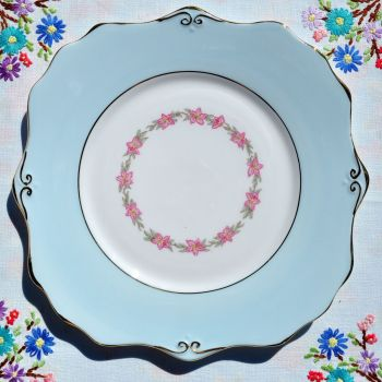 Gladstone Pale Blue Vintage China Cake Plate c.1950s