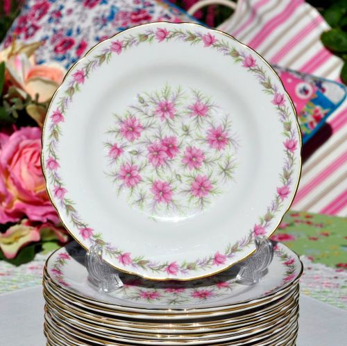 Tuscan Pink Love In The Mist Bone China 18cm Side Plate c.1947+
