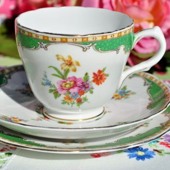 Grosvenor Green and Floral Vintage China Teacup Trio c.1950s