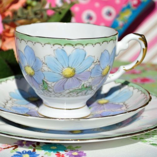 Tuscan Hand Painted Blue and Lilac China Teacup Trio c.1936+