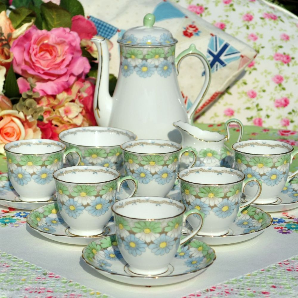 Gainsborough China Hand Painted Blue and Green Daisy Tea Set c.1930s