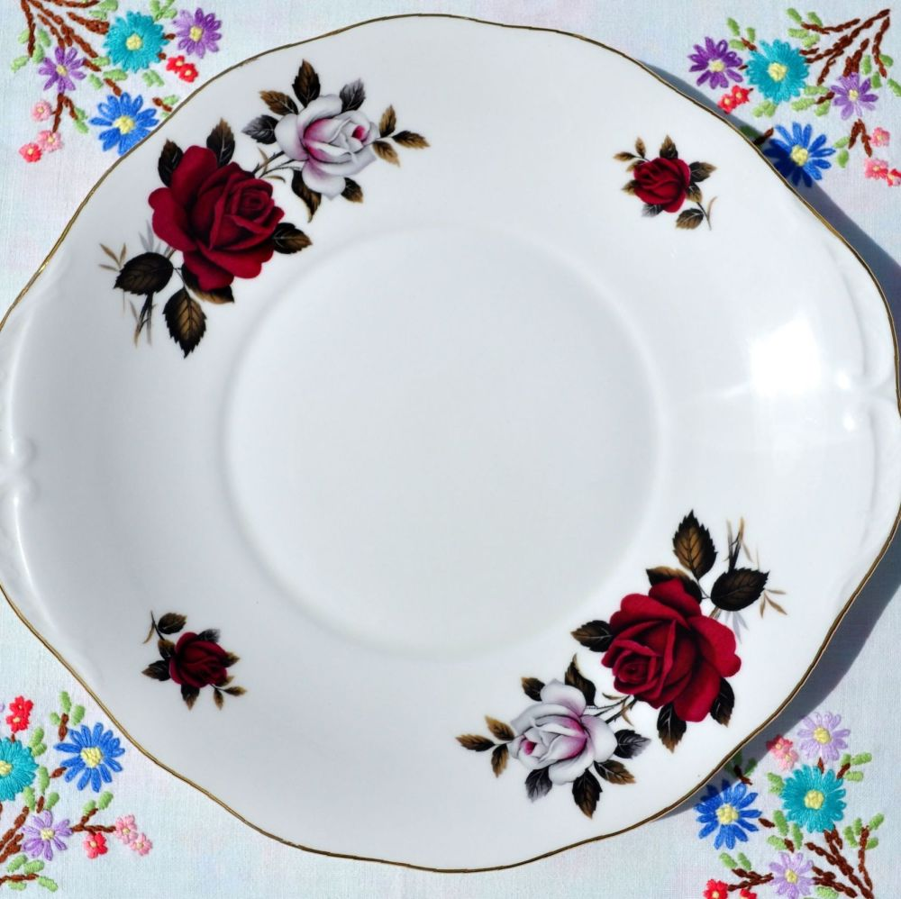 Colclough Red and White Roses Vintage Cake Plate