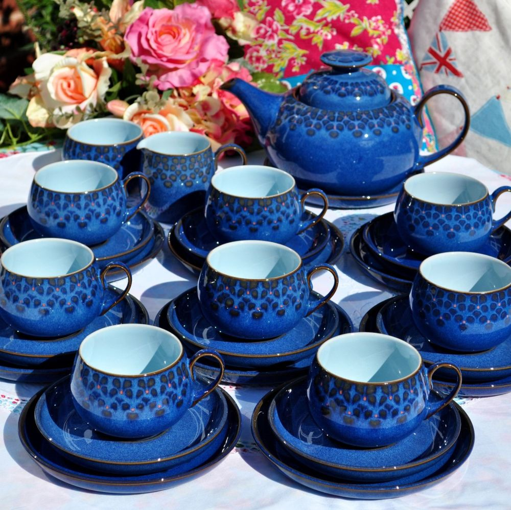 Denby Midnight 28 Piece Tea Set with Teapot and Stand