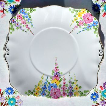 Royal Standard Hollyhock Vintage China Cake Plate