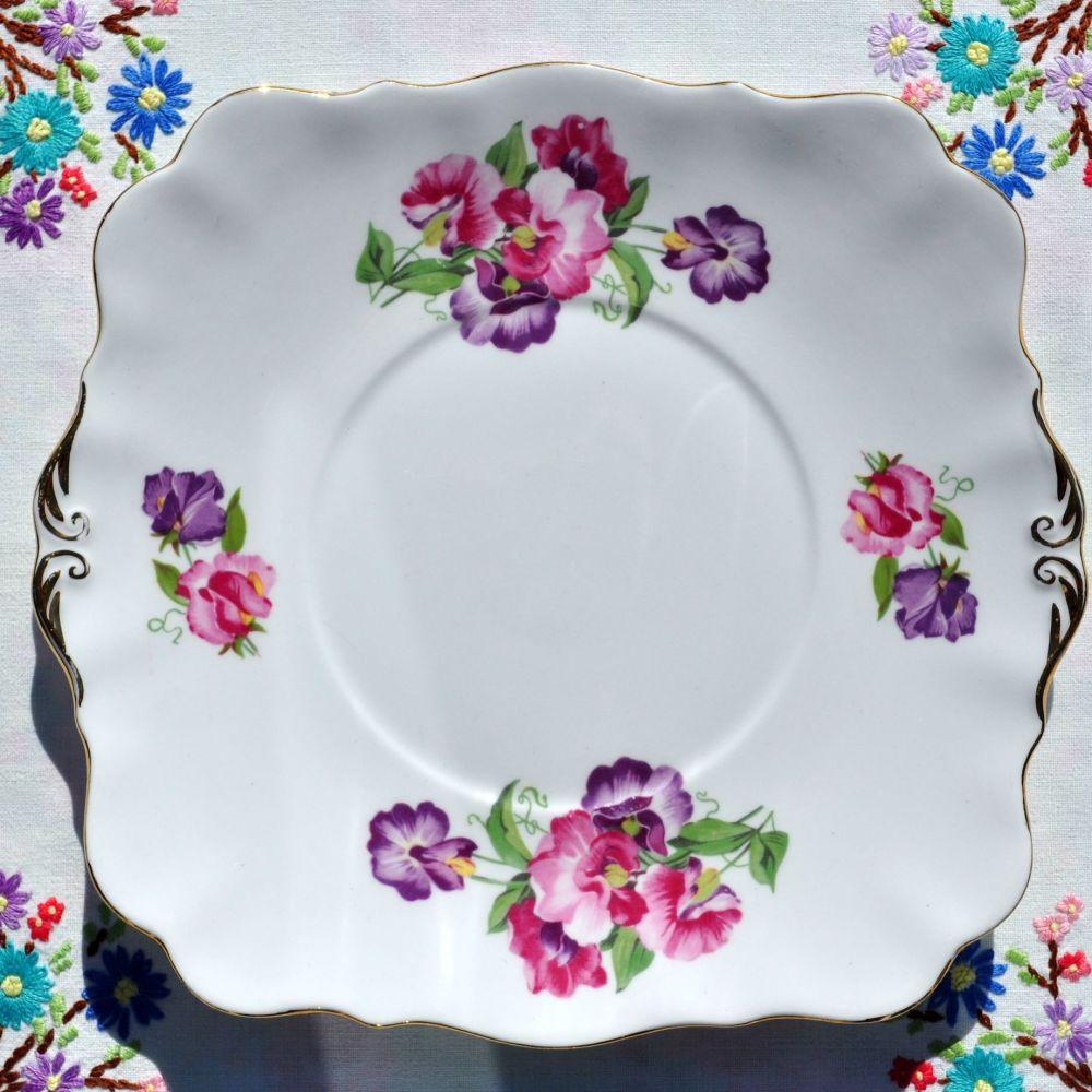 Royal Standard Sweet Pea Bone China Cake Plate c.1950s