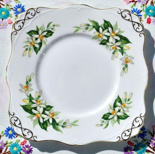 Tuscan Bridal Flower Orange Blossom Cake Plate c.1947+