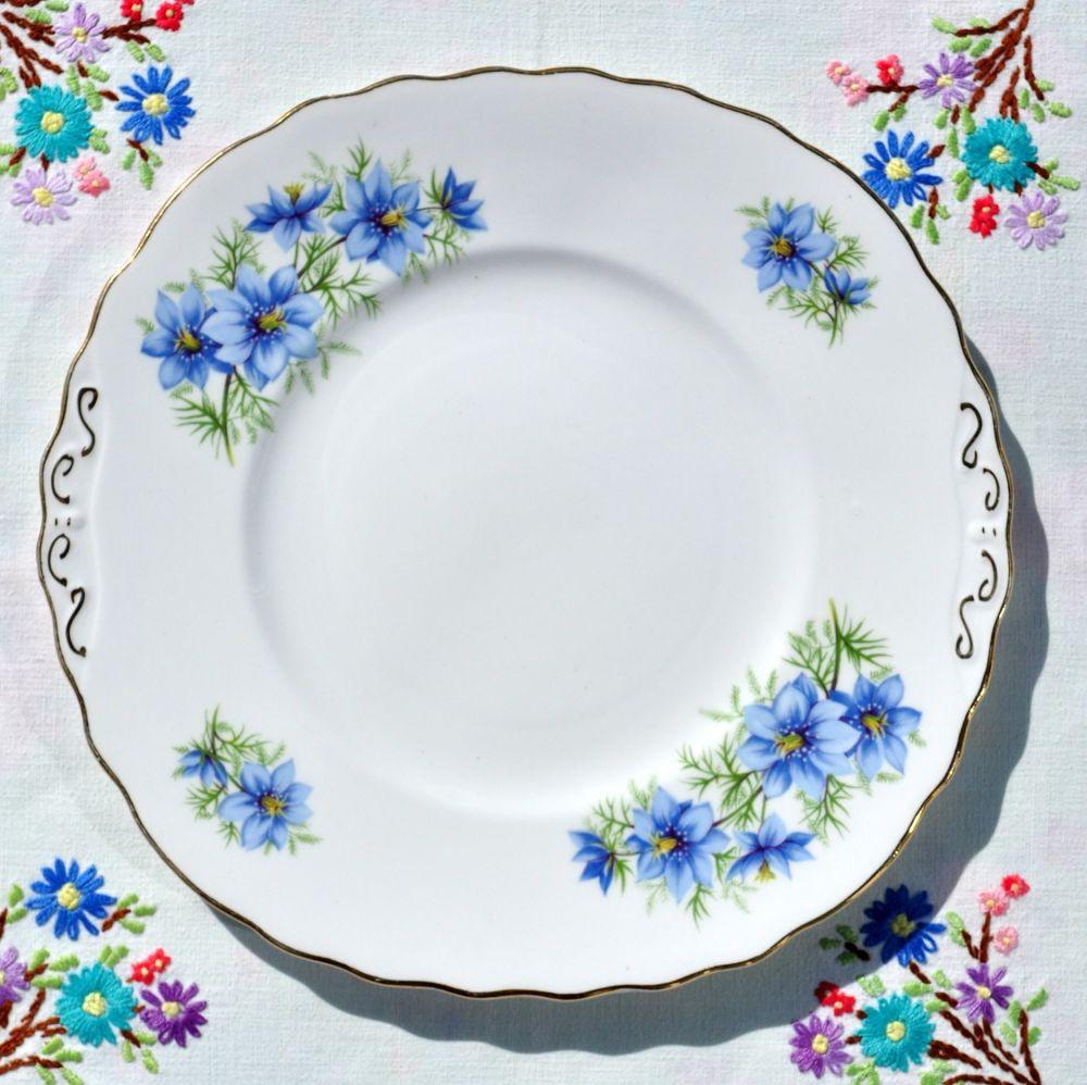 Colclough Blue Cosmos Cake Serving Plate