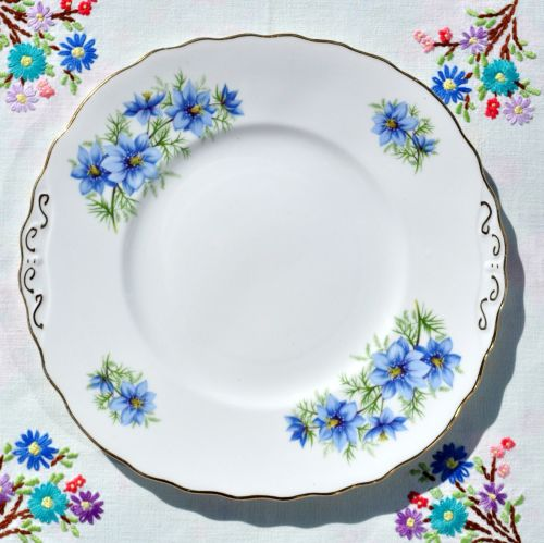 Colclough Blue Cosmos Cake Serving Plate