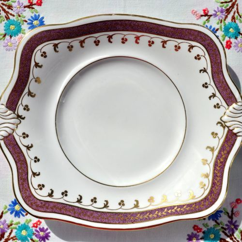 Antique Tuscan Amethyst Lustreware Bone China Cake Plate c.1907+