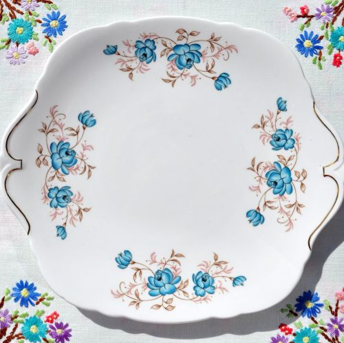 Windsor China Duck Egg Blue Roses Vintage Cake Plate c.1960's