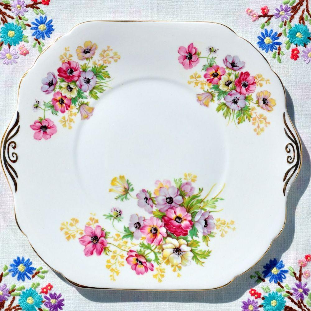 Stanley China Anemone Vintage China Cake Plate c.1953