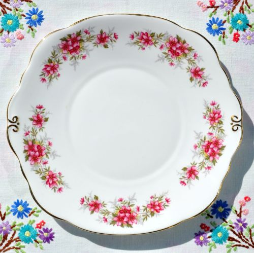 Duchess Pink Floral Bone China Cake Plate c.1950s