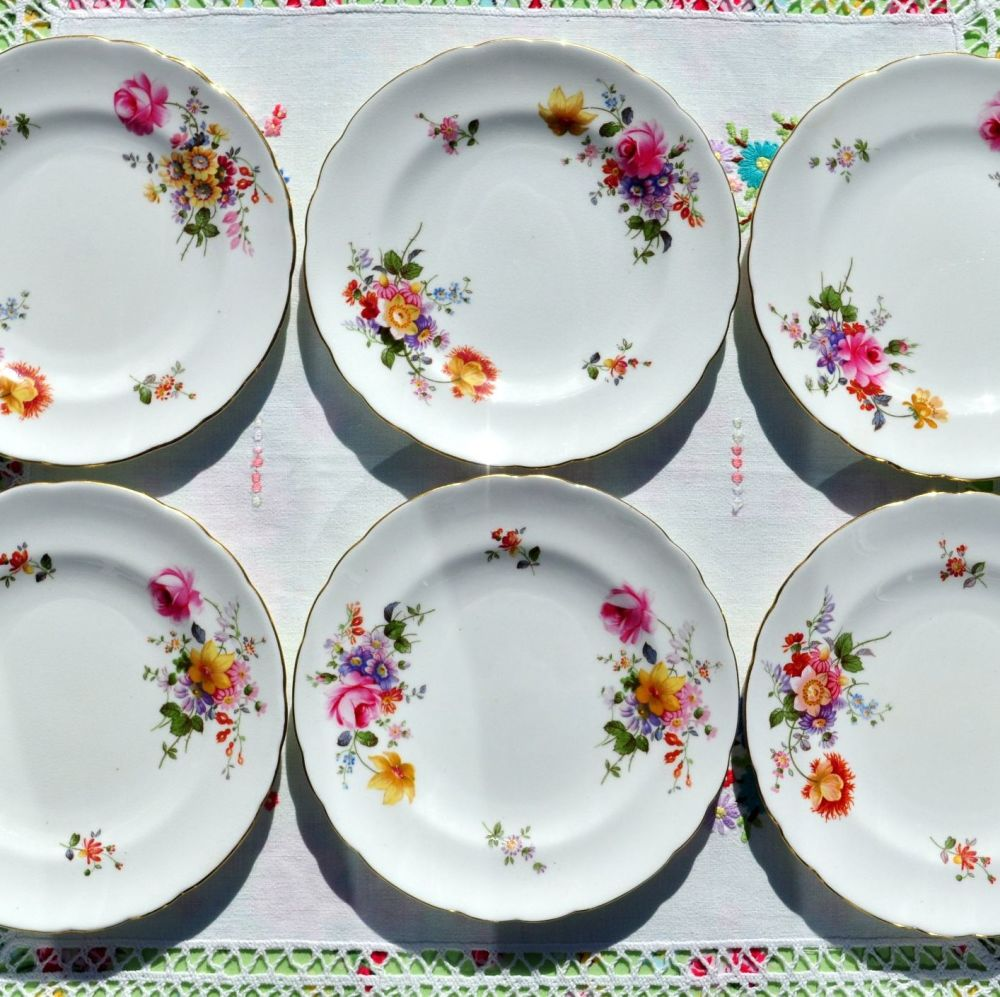 Royal Crown Derby Posies Set of Six 16cm Tea or Side Plates