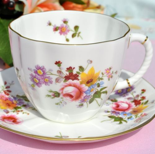 Royal Crown Derby Posies Half Pint Breakfast Size Teacup and Saucer