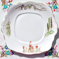 Roslyn China Cypress Tree Art Deco Hand Painted Cake Plate c.1924+
