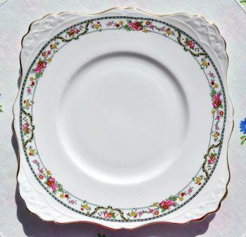 Tuscan Floral Garland Bone China Cake Plate c.1940s