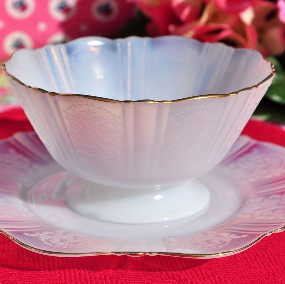 American Sweetheart Monax Sherbert Glass Dish and Under Plate c.1936