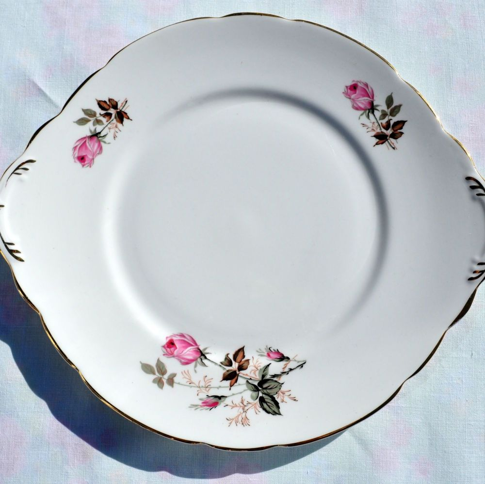 Royal Stafford Pink Roses Vintage China Cake Plate c.1950s
