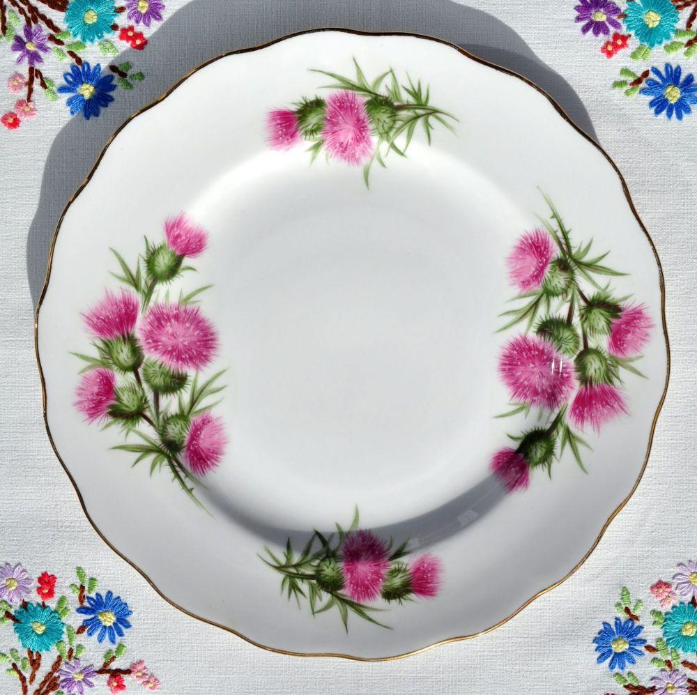 Colclough Pink Thistle Vintage China 21cm Plate