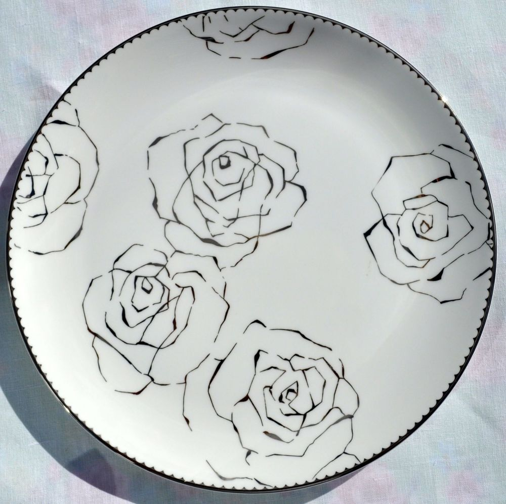 Wedgwood Vera Notions 23cm Bone China Platinum Roses Plate