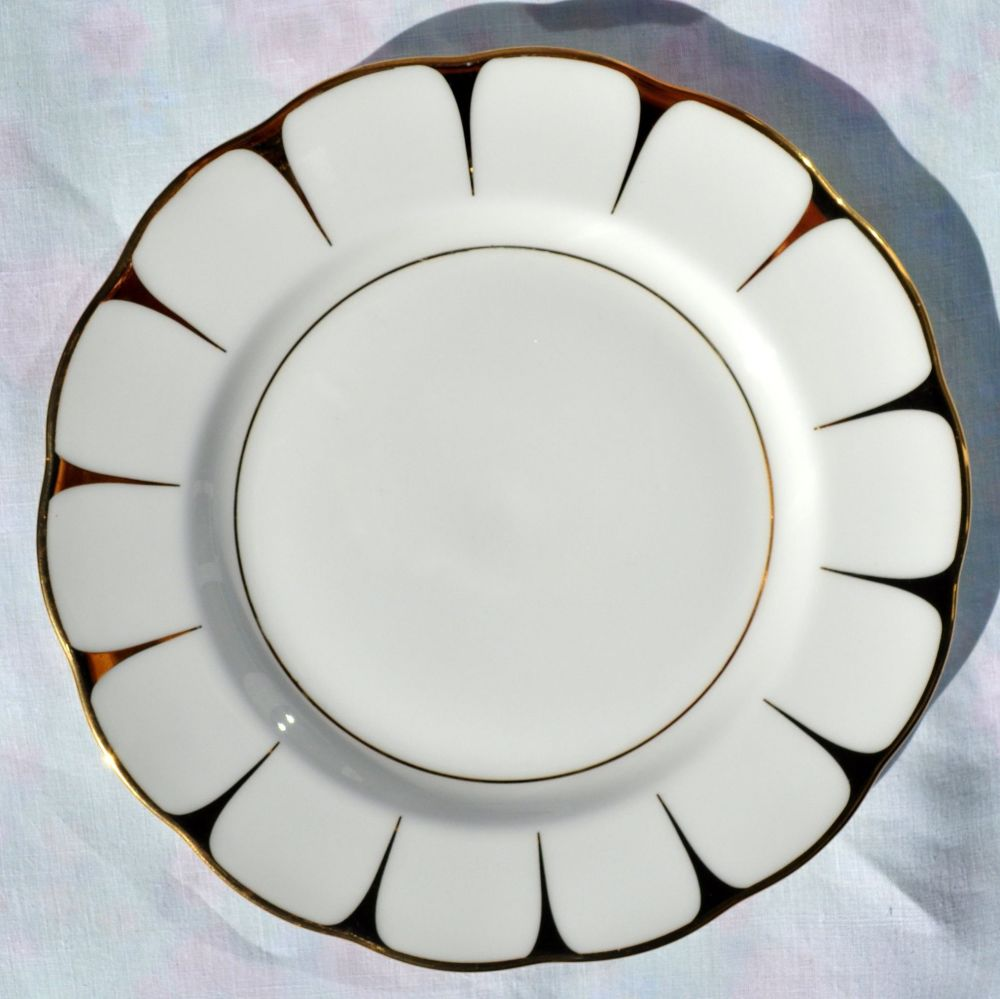 Royal Vale Gold and White 21cm Vintage Bone China Plates