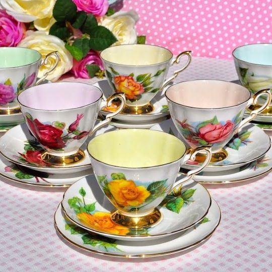 Paragon World Famous Roses Set of Six Harlequin Teacups, Saucers and Tea Pl