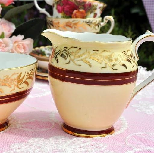 Roslyn China Cream and Burgundy Vintage Cream Jug and Sugar Bowl