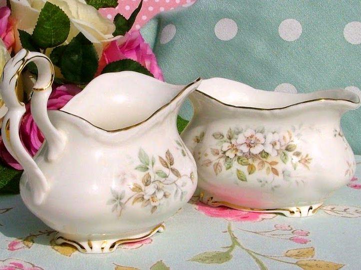 Royal Albert Haworth Vintage China Cream Jug and Sugar Bowl c.1980s
