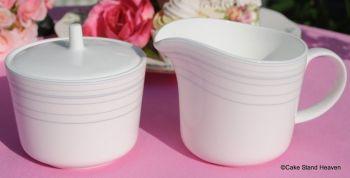 Royal Doulton Line Pattern Milk Jug and Lidded Sugar Bowl