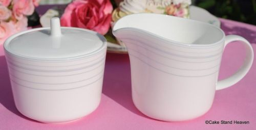 Royal Doulton Line Pattern Milk Jug and Lidded Sugar Bowl