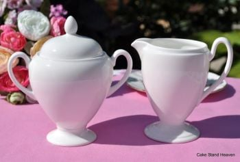Royal Doulton White Fine Bone China Cream Jug and Sugar Bowl Set A