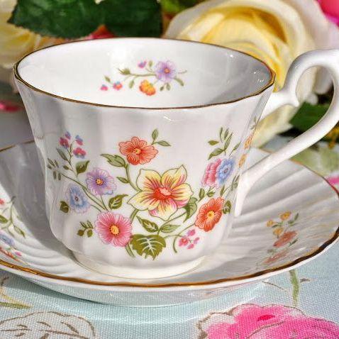 Royal Kendal Floral Pastel Teacup and Saucer c.1985