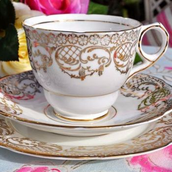 Royal Stafford White and Gold Filigree Teacup Trio c.1952+