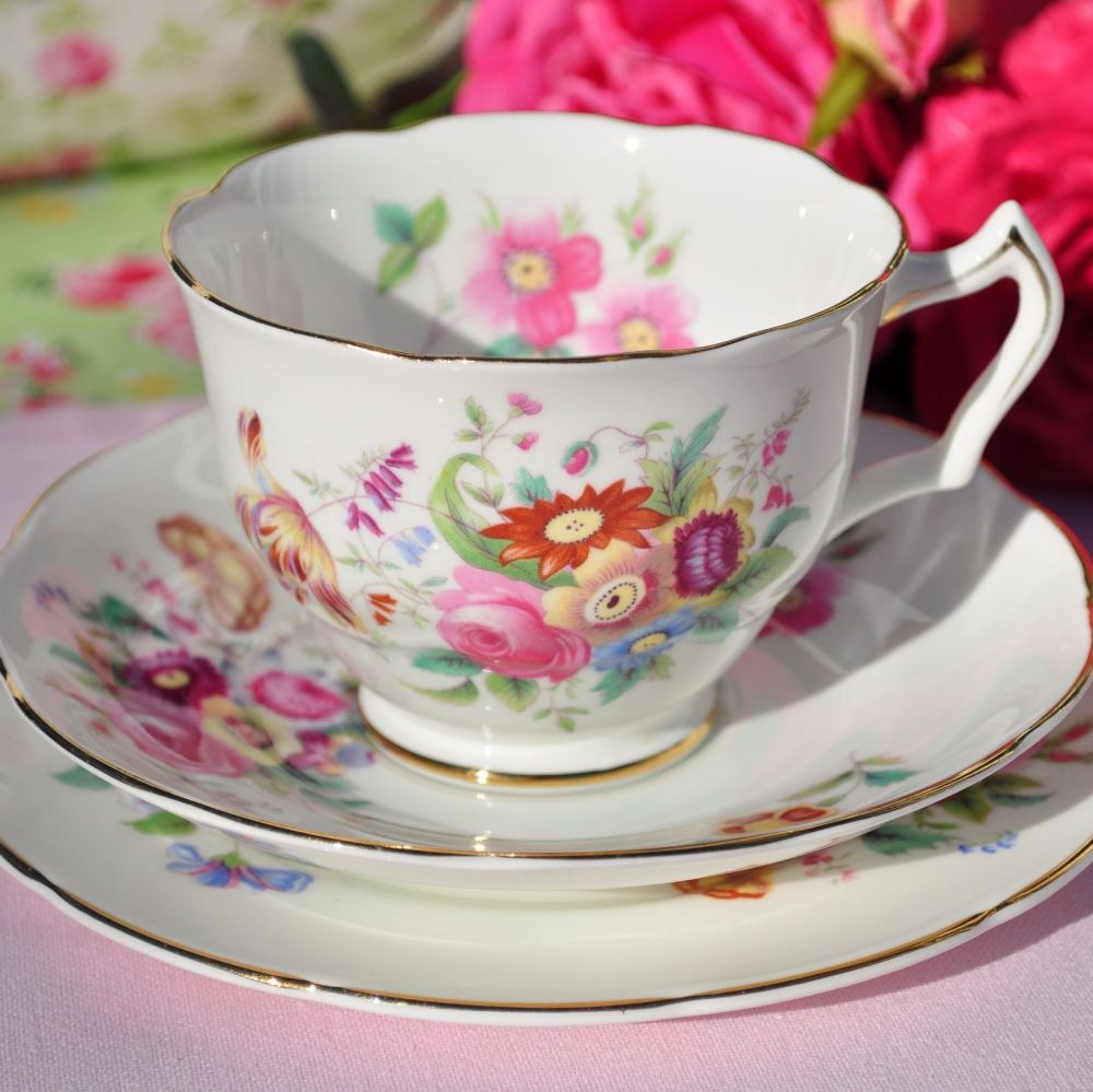 Coalport Junetime Vintage Bone China Teacup Trio c.1950s