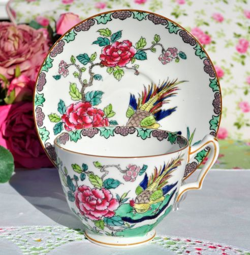 Crown Staffordshire Rock Bird Vintage Breakfast Teacup and Saucer c.1930s