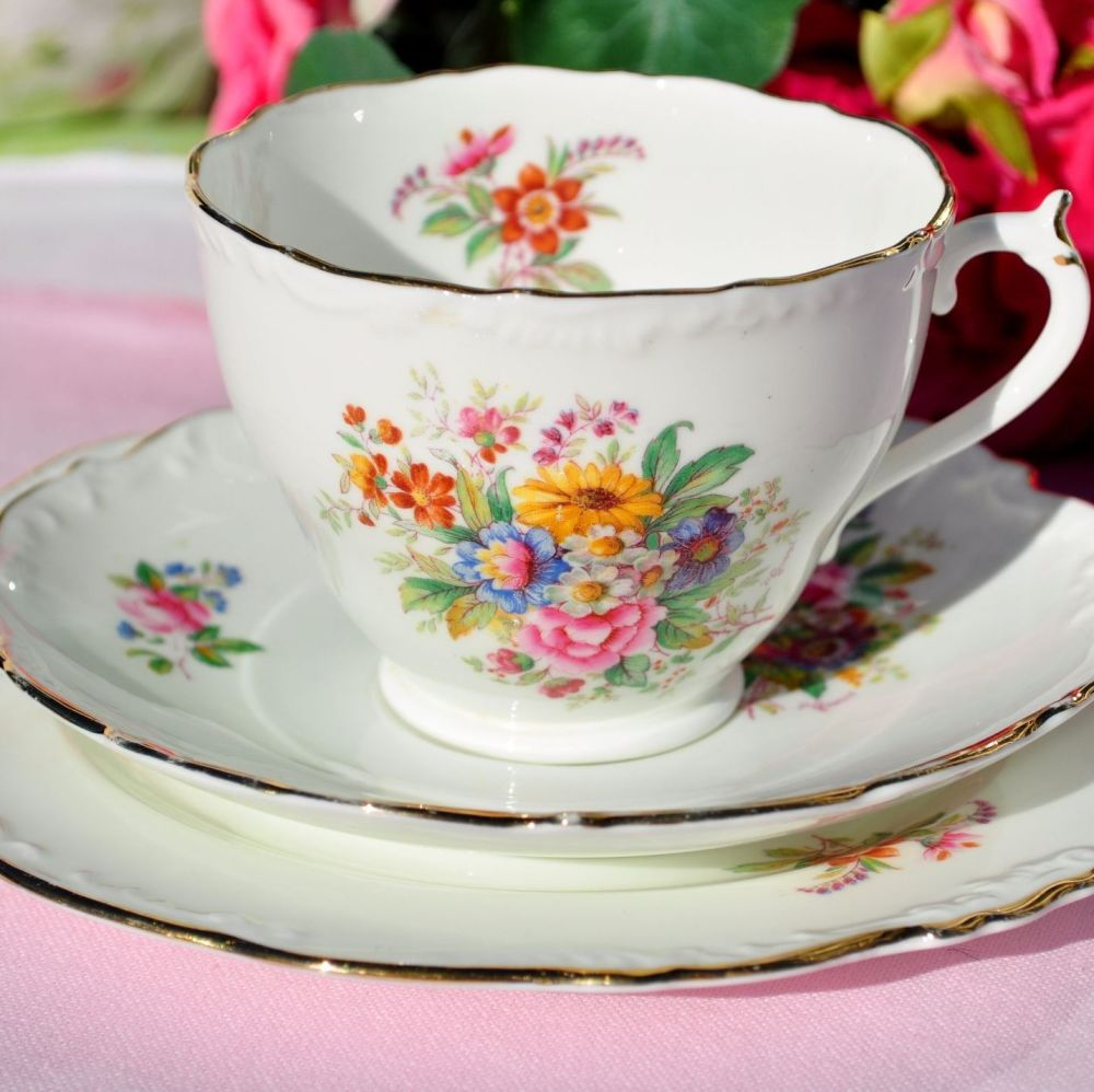 Coalport Fragrance Vintage Bone China Teacup Trio c.1950s