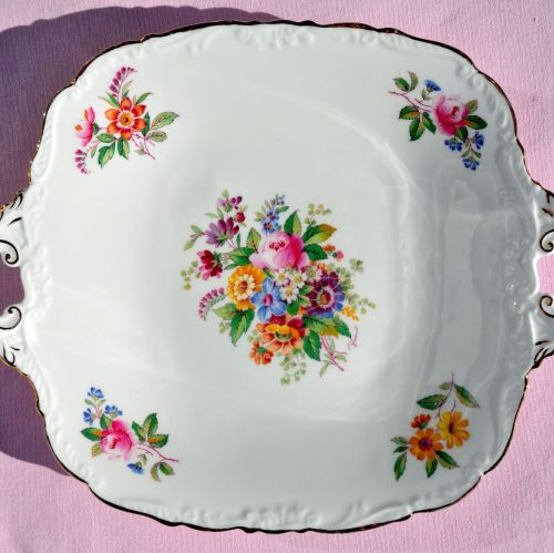 Coalport Fragrance Vintage China Cake Plate or Biscuit Tray c.1950s