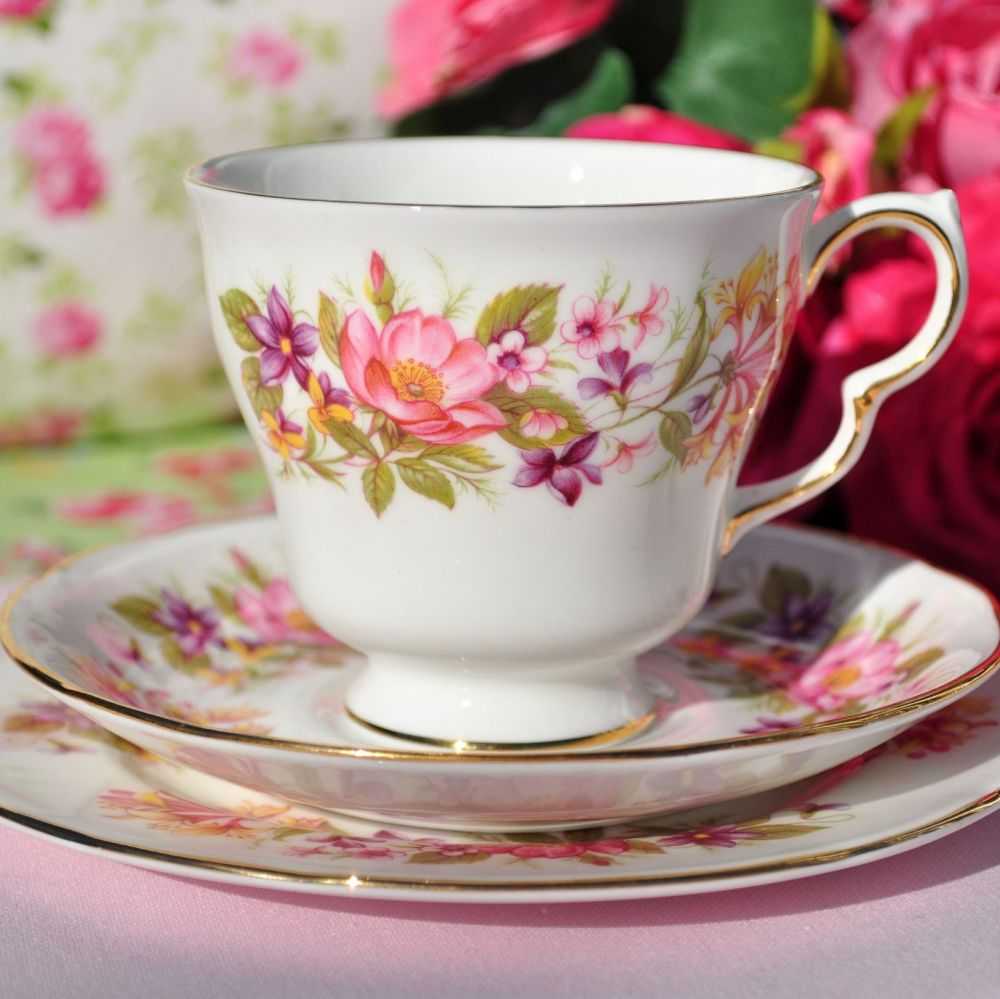 Colclough Wayside Vintage Bone China Teacup Trio c.1960s