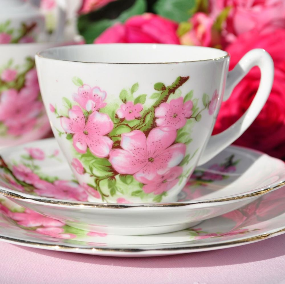 Gladstone Pink Blossom Teacup Trio