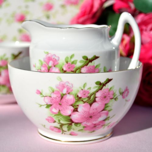 Gladstone Pink Blossom Vintage Milk Jug and Sugar Bowl c.1950s