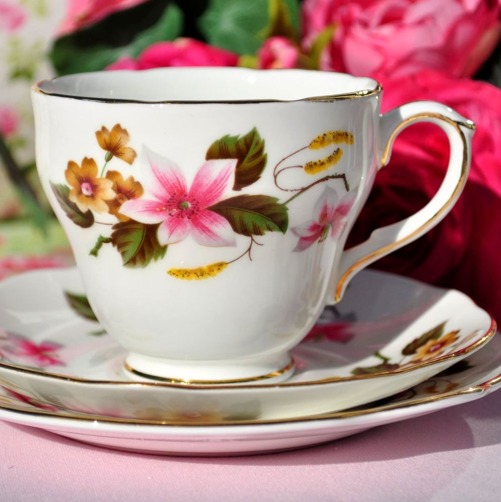 Duchess Windermere Vintage Bone China Teacup Trio c.1960s