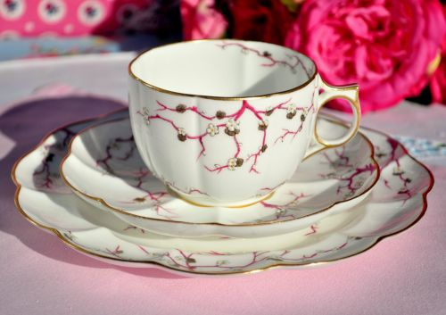 Antique Crescent China Cherry Blossom Fine China Teacup Trio c.1874-91