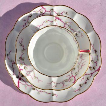 Antique Crescent China Cherry Blossom Fine China Teacup Trio c.1874-91