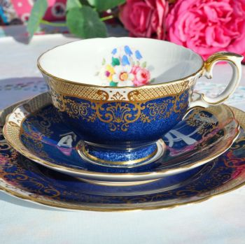 Crown Staffordshire Blue and Gold Lace Tea Cup Trio c.1930s