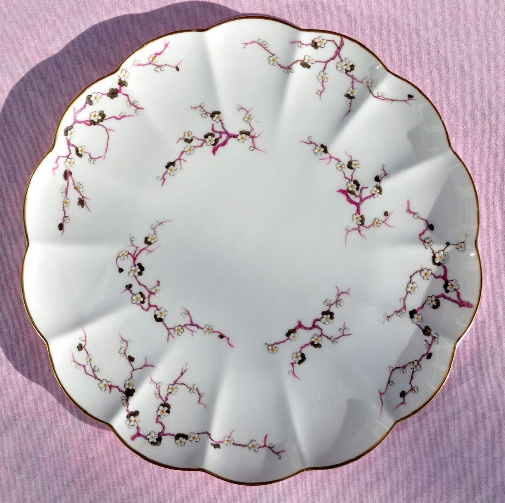 Antique Crescent China Cherry Blossom Cake Plate c.1874-91
