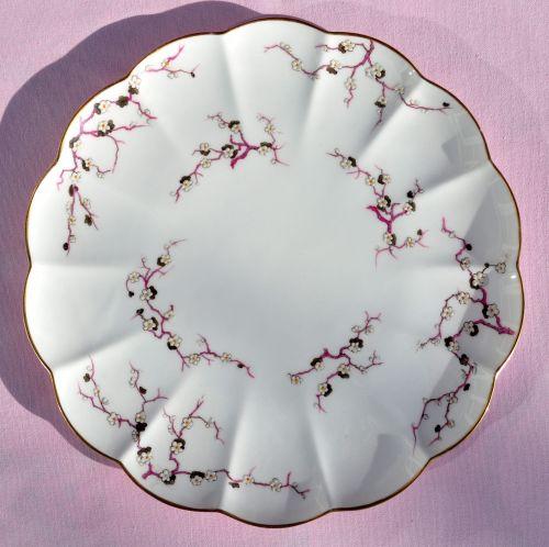 Antique Crescent China Cherry Blossom Cake Plate c.1874-91