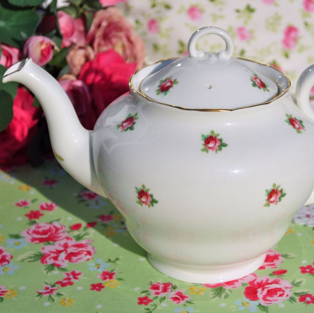 Adderley Ditsy Pink Roses Vintage China Teapot c.1950s