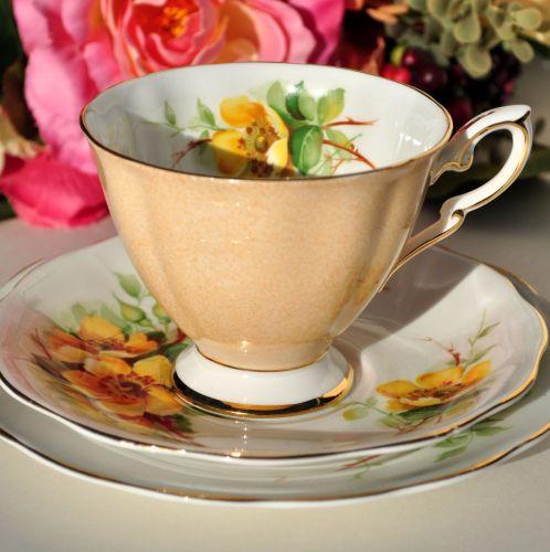 Royal Standard Wild Rose Fine Bone China Tea Cup Trio