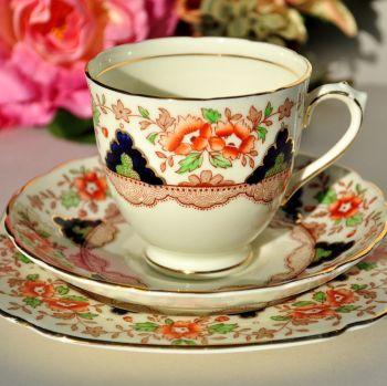 Plant Tuscan Imari Style Teacup, Saucer, Tea Plate Trio. c.1936+